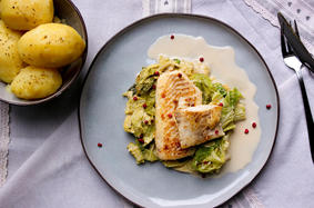 Haddock fillet on savoy cabbage vegetables