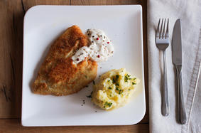 Filled crispy plaice with mashed potatoes